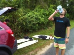Nothing like some post surf hydration.   Clem representing Future Fins.